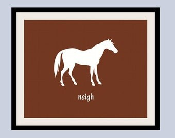 Barnyard Horse Print  5 x 7 farm animals