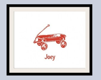 Personalized Children's Wagon Print 8 x 10. Nursery/baby wall art