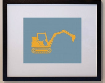 Construction Digger Print Children 8 x 10 personalized for kids
