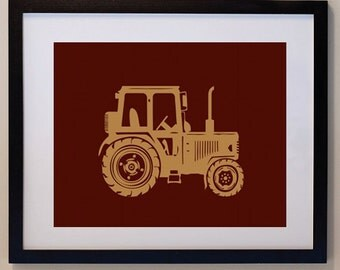 Tractor Print Children 8 x 10, personalized for kids