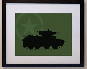 Children's Army Tank 8 x 10 nursery print, wall art
