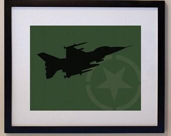 Children's Fighter Jet 8 x 10 nursery print, wall art