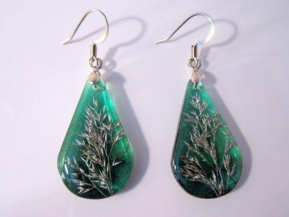 Grass Seed Heads Earrings, plant jewelry, leaf jewellery, plant earring