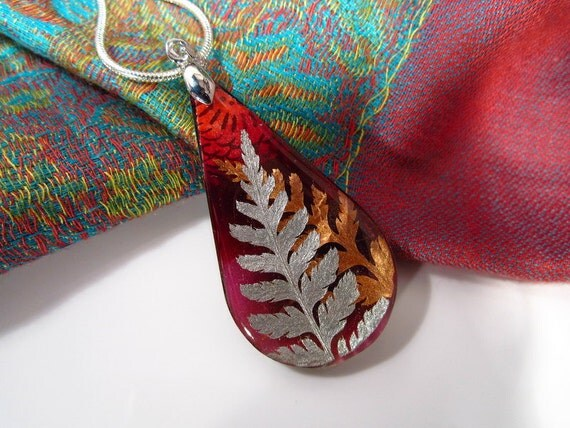 Fern Leaf Necklace, fern pendant, plant jewellery, leaf jewelry