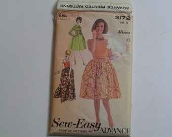 Vintage Sew-Easy Advance  Pattern 3172 Misses'  Separates Skirt Two-length