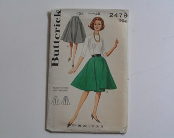 Vintage Butterick  Pattern 2479 Junior Misses'  Gored Skirt