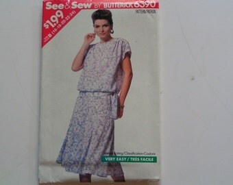 Vintage Butterick Pattern 6390 See and Sew Very Easy Miss Top Skirt