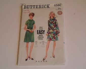 Vintage Butterick Pattern 4580 Misses One Piece Dress