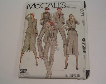 Vintage McCalls Pattern 6724 Misses Jacket Vest Skirt Pants