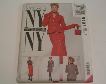 McCalls Pattern NY Collection 6191 Misses Lined Jacket Skirt in two lengths