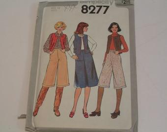 Vintage Simplicity Pattern 8277 Misses Skirt Vest Pants