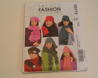 McCalls Fashion Accessories Pattern M5773 Misses Hats Scarves Mittens
