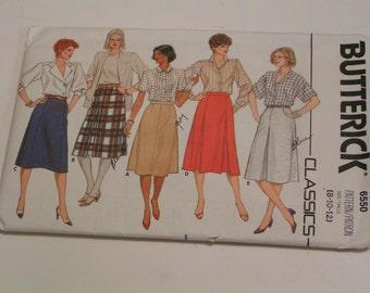 Vintage Butterick Pattern  6550 A-Line Skirt