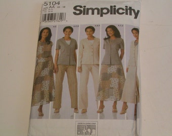 Simplicity Pattern 5104 Misses Top Jacket Pants Skirt