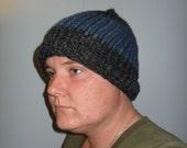 RESERVED Handmade Knit Wool Charcoal & Denim Blue Beanie