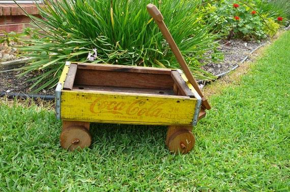 Handmade wood Coca Cola crate wagon