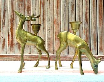Vintage Bronze Woodland Deer Duo Candle Holders