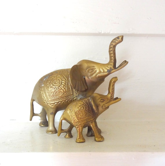 Indian Brass Conjoined Elephant Mamma And Baby Statue