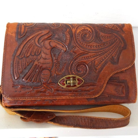 Vintage Hand Tooled Mexican Leather Purse, Reversible