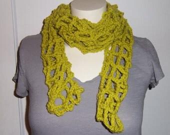 Open Work Crochet Skinny Scarf - Grass Green