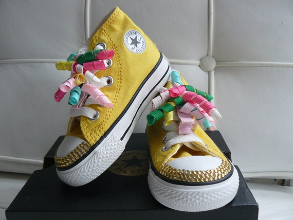 Cutest little blinged converse...Yellow hi tops size 4