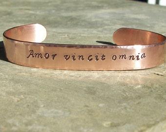 Hand Stamped Amor Vincit Omnia (Love Conquers All) Copper Cuff Bracelt