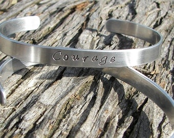 Hand Stamped Cuff With Courage