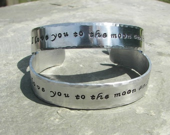 """Hand Stamped Bracelet """" I love you to the moon and back """""""