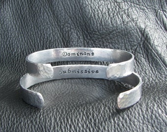 Hand Stamped Cuff Bracelets Inspired By  Fifty Shades of Grey Dominant and Submissive Set
