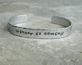 GAME of THRONES Inspired Quote Bracelet Winter is coming