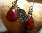 Antiqued Brass and Red Czech Glass Earrings,