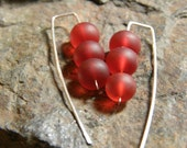 Red Sea Glass and Sterling Silver Earrings