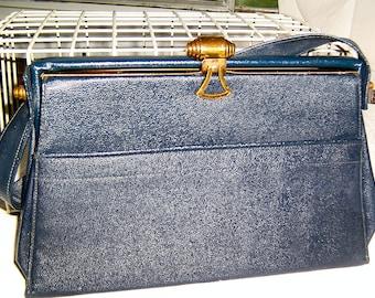 Blue Leather Purse, Ladies Handbag with Brown Leather Interior, Top Handle Purse, Evening Bag, Vintage Purse, Metal Clasp, Metal Zipper