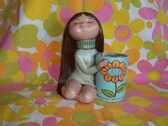 Vintage 1960s-70s mod girl planter - hippie