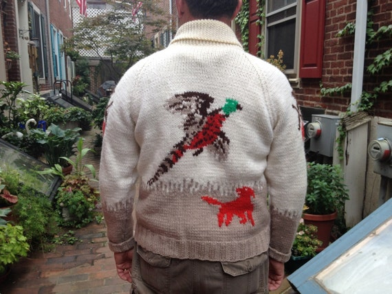 1950s Cowichin Mens Sweater Hunter, Dog, Pheasant