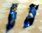 Vintage Dark Blue Pierced Earrings
