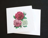 3 Beautiful Vintage Roses in Red, Pink and Cream / Eco-Friendly Plantable Seeded Card
