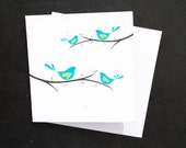Turquoise Birds on a Branch / Eco-Friendly Plantable Seeded Card