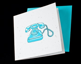 Retro Rotary Turquoise Telephone / Eco-Friendly Plantable Seeded Card
