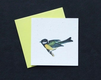 Colorful Bird in Shades of Yellow, Blue and Green / Eco-Friendly Plantable Seeded Card