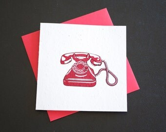 Retro Rotary Red Telephone / Eco-Friendly Plantable Seeded Card