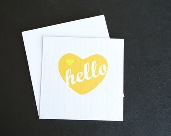Hello. Greetings. Sweet and Simple. / Eco-Friendly Plantable Seeded Card