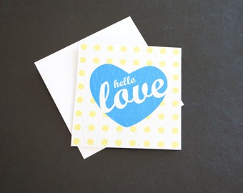 Hello Love in Turquoise Heart with Yellow Polka Dot Background / Eco-Friendly Plantable Seeded Card