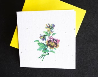 Lovely Sprig of Violet and Yellow Pansies / Eco-Friendly Plantable Seeded Card