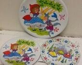 Three Tin Toy Plates