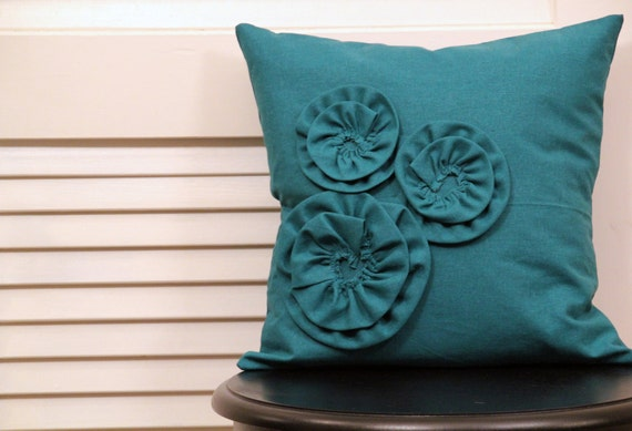 Flower pillow - multi-size flowers (teal)