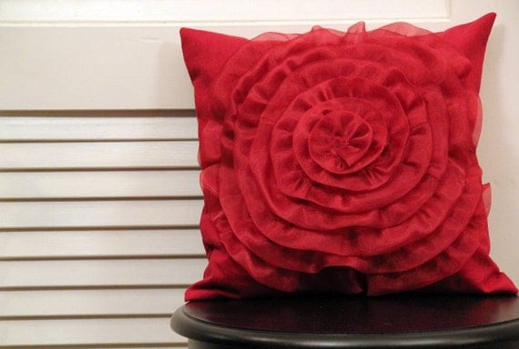 Flower pillow - large chiffon flower