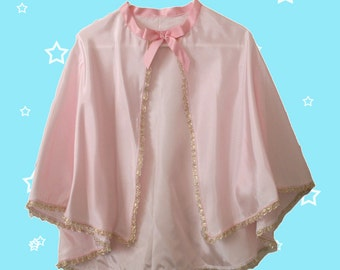 Girl's Pink Princess Cape, Pink Cape, Pretend DressUp Fun with safe Velcro tab fastener for easy on and off. Pink taffeta and gold lace trim