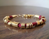 The Luck Collection Bracelet No.9 - Banded Slinky Rings of Gold on Red Friendship Cord