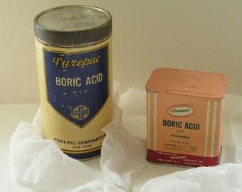 Vintage Boric Acid Cans (2)